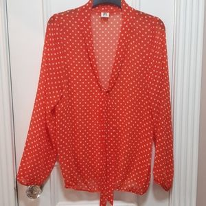Polka dot blouse with the around the neck